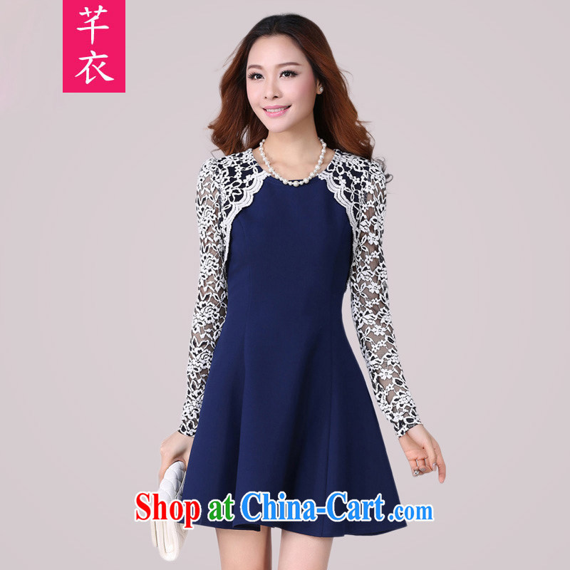 Constitution, indeed, 2015 XL female fat sister long-sleeved lace graphics thin elegant spring new Korean sense of beauty and fat dress dark blue 2 XL 120 - 135 jack