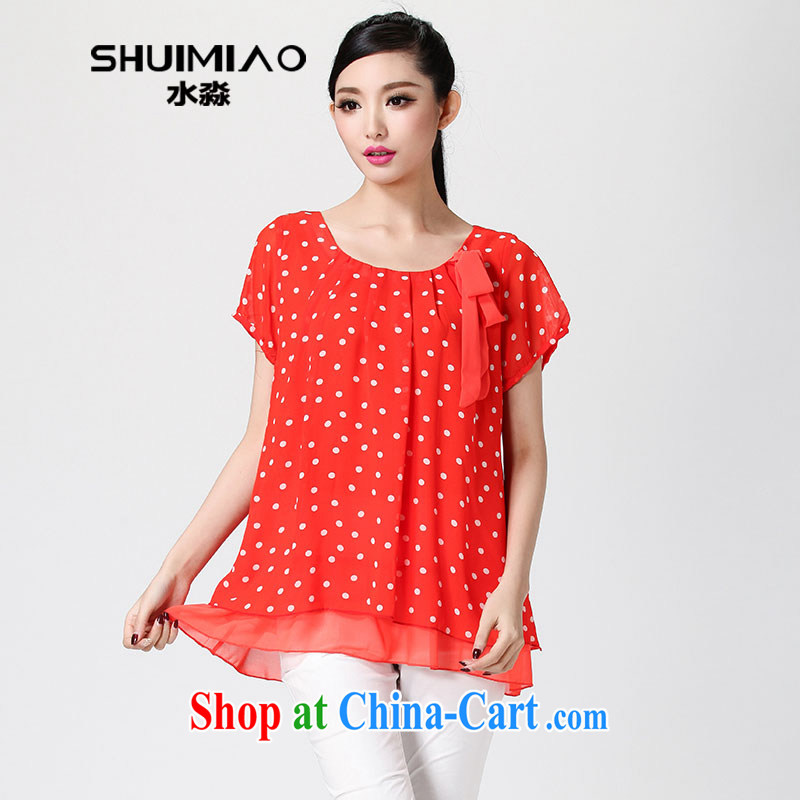 Water with larger female 2014 summer new thick MM graphics thin ice woven sweet short-sleeved shirt T S XC 14 1240 scarlet XL