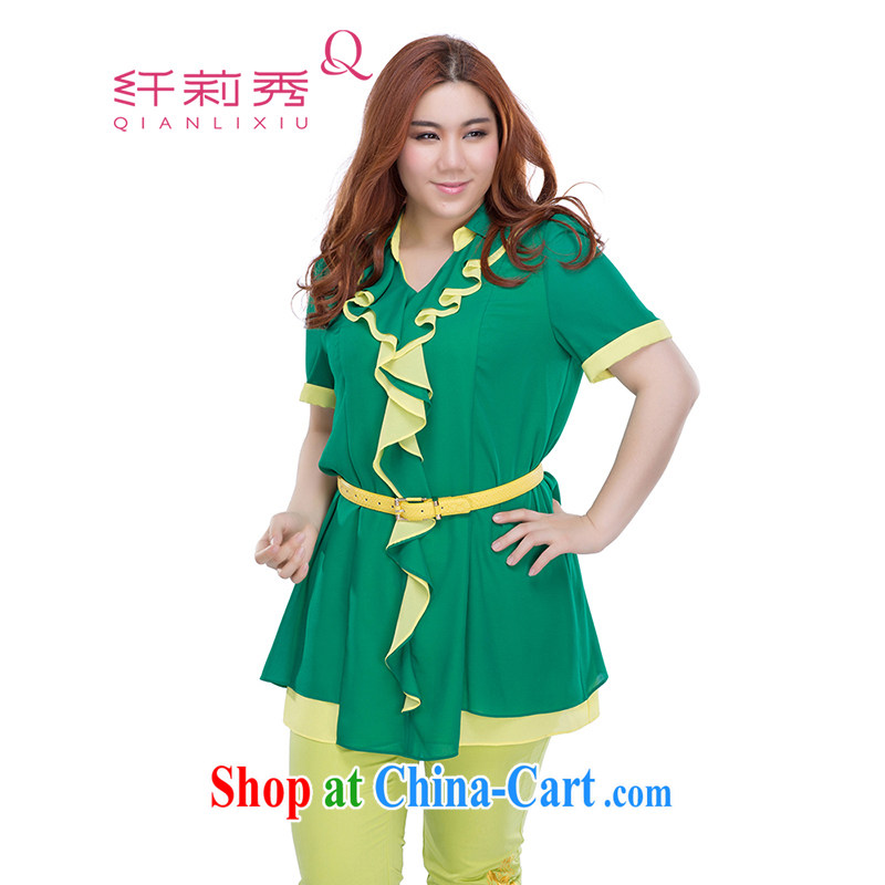Slim Li-su summer 2014 new larger female V neckline-collision color flouncing character, the forklift truck stitching snow woven dresses Q 3762 green XL