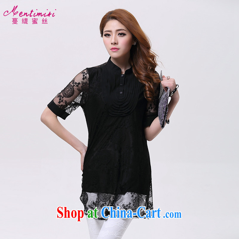 Mephidross economy honey, and indeed increase, women mm thick summer new Korean Openwork lace short-sleeved shirt 1603 black large code XL
