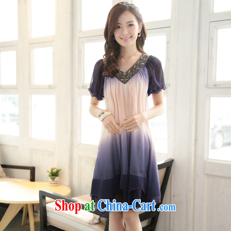 Tim in her 2015 summer new short-sleeved snow woven dresses trendy code stamp gradient snow woven skirts D 120,167 purple XXXXL