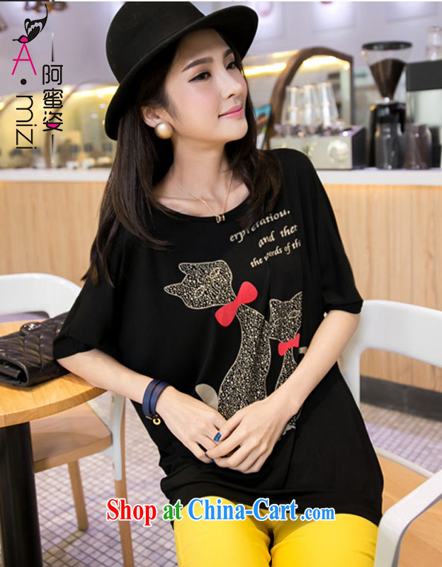 The honey colorful thick mm larger female new summer sun poverty video thin kitten with bat sleeves loose T pension women 8510 black XXXL