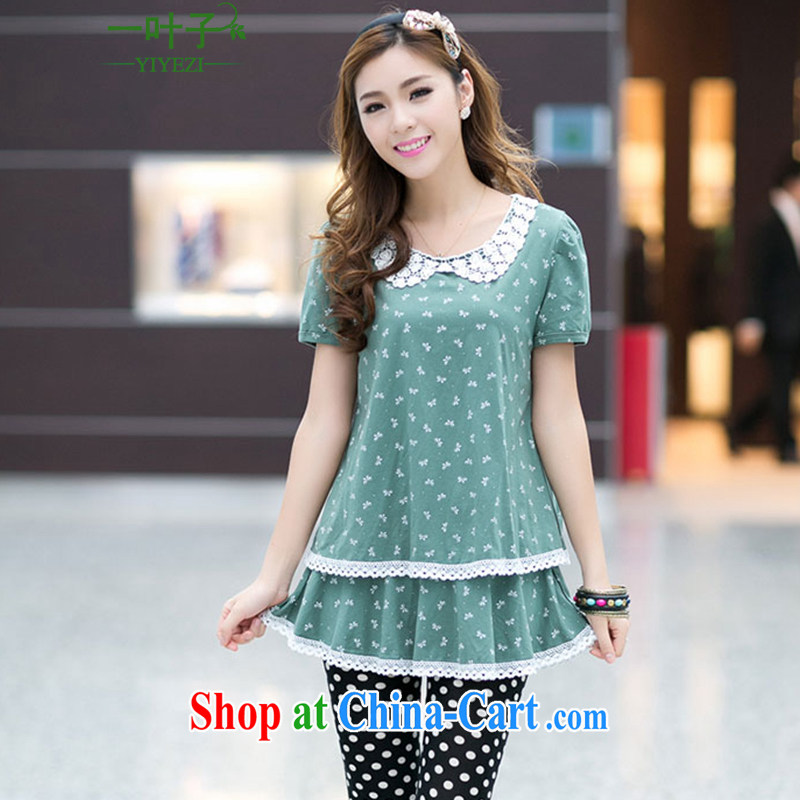 A leaf King code doll collar lace lace dresses green XXXXL