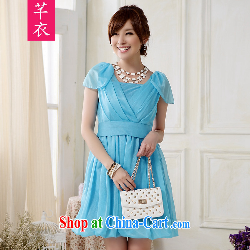 CONSTITUTION AND CLOTHING XL female thick sister 2015 summer aura sister skirt V receipts back light shoulder bridesmaid dress lanterns with dress ladies dress sky blue large XL 3 160 - 180 jack