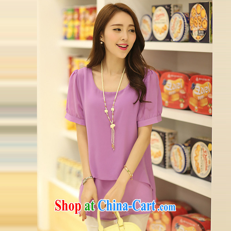 Ms. Cecilia Clinton's large, ladies' 2015 summer new short-sleeved snow woven shirts thick MM and indeed increase 200 Jack loose video thin leave two women T-shirt long shirt violet 4 XL