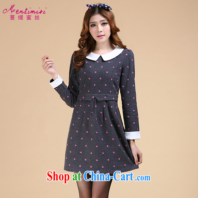 King, female thick MM Load fall 2014 New Wave point dolls for thick long-sleeved sister dresses video thin 3097 large gray code 5 XL