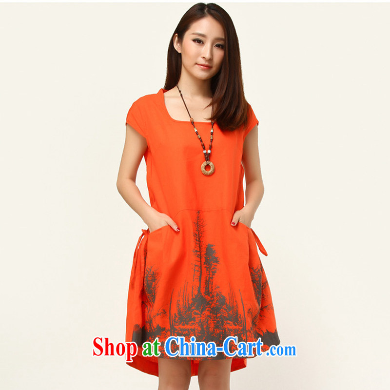 The Ju-Yee Nga thick sister larger female graphics thin beauty summer Korean version of the new, short-sleeved arts stamp duty cotton Ma dresses YJ 8189 orange XL