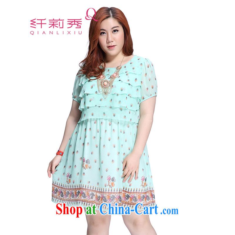 Slim Li Su-XL ladies dress thick sister graphics thin skirts Q 3766 green XL