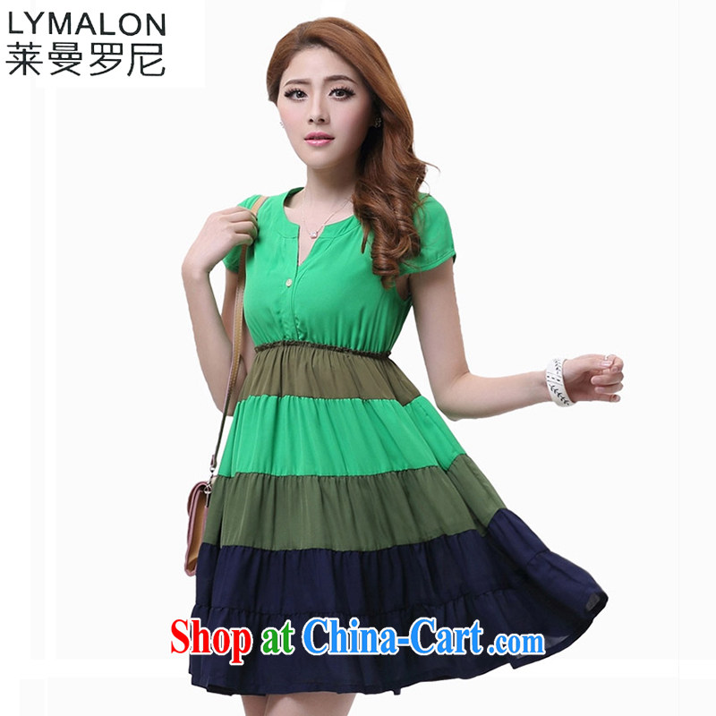 Lehman Ronnie lymalon fat people graphics thin summer 2015 new stylish larger women's clothing striped Ethnic Wind short-sleeved snow woven dresses 2609 green 5 XL