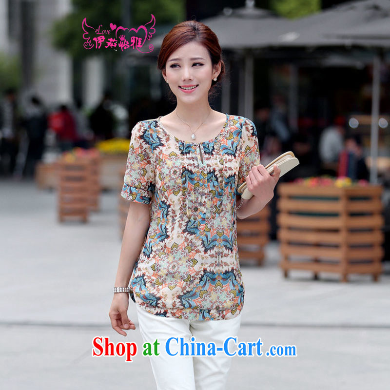 The Ju-Yee Nga summer WEAR WOMEN's graphics thin MOM load the code load XL floral short sleeve snow woven shirts YY 8980 blue XXXL