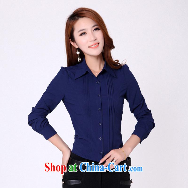 NEW YORK, long-sleeved T-shirt girls large code career shirt snow beauty woven shirts 9909 blue XXXL