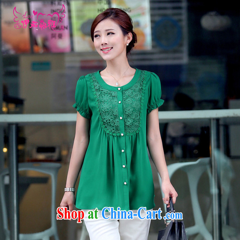 The Ju-Yee Nga new summer female thick MM graphics thin large code replace lace round-collar cardigan short-sleeved snow woven shirts YY 8881 green XXXL