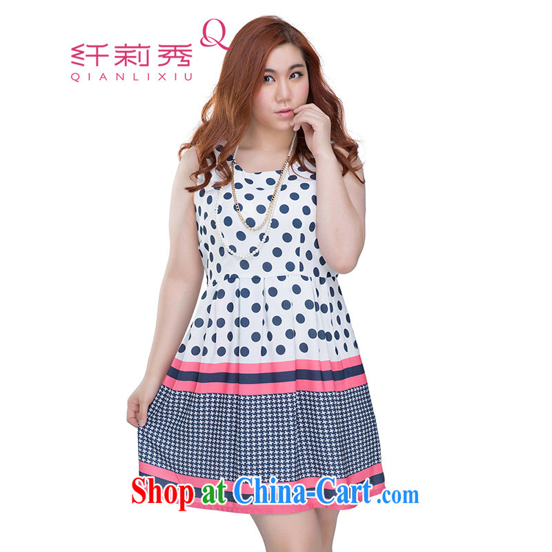 Slim Li-su summer 2014 new larger female lady elegant beauty 100 ground sleeveless polka dot dresses Q 3535 pink XXXXL