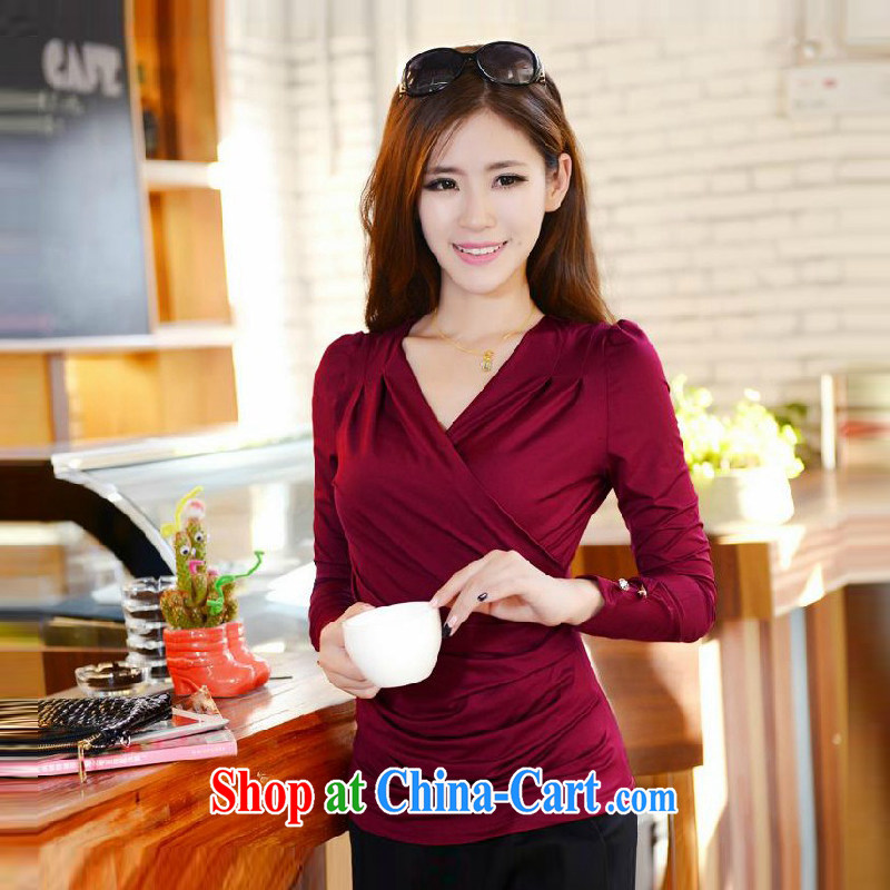 Refreshing 2015 new Korean solid Ms. V shirt collar loose the code leisure 100 solid ground sweater girl T-shirt T shirt solid T-shirt 0603 maroon 3XL