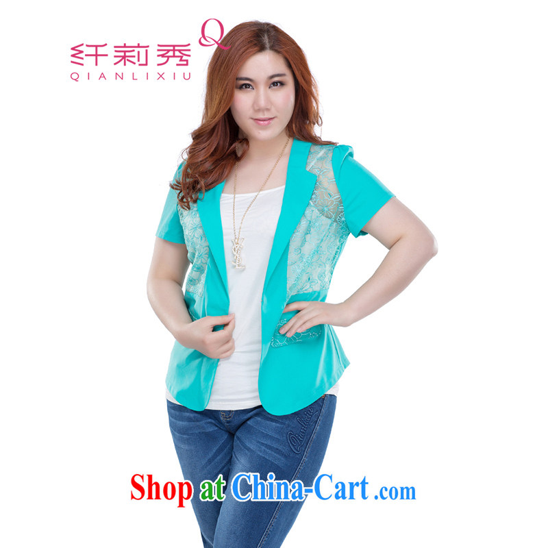 Slim Li-su summer 2014 new larger female Korean version commuter Sau San 100 to ground the root yarn lace stitching thin suits small jacket Q 3660 green XL