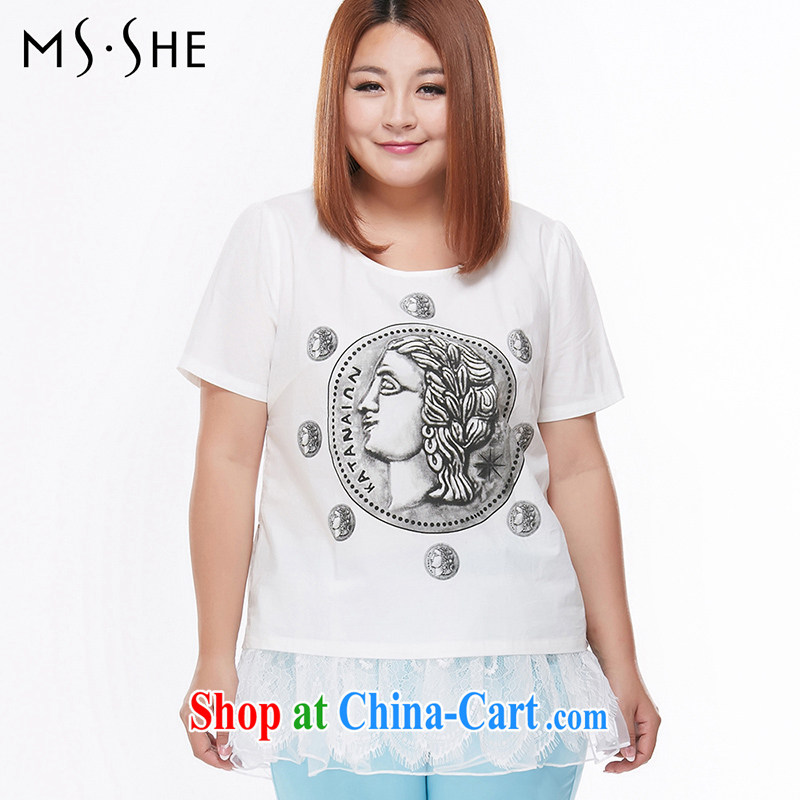 MsShe pure cotton short-sleeved T pension increase, female bubble sleeve clearance 6862 white 3XL
