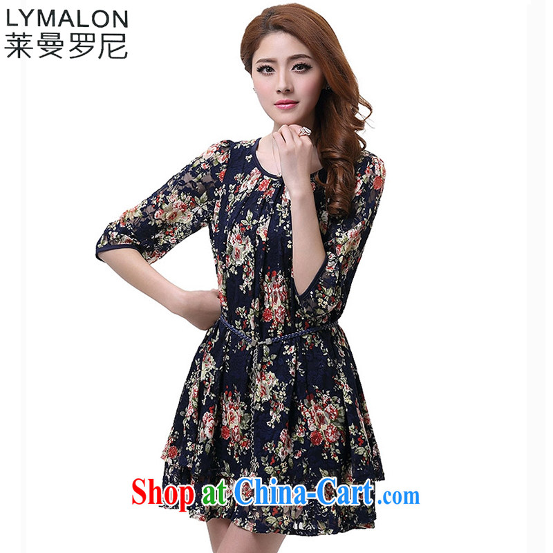 Lehman Ronnie lymalon fat people graphics thin 2015 Spring and Autumn new Korean XL women cuff in stamp lace dress suit 2604 4 XL