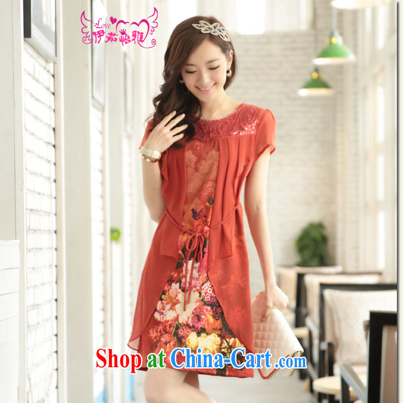 The Ju-Yee Nga fake two-piece new summer dress code the thick, graphics thin aura, older snow woven dresses YA 66,384 brick red XXXXL