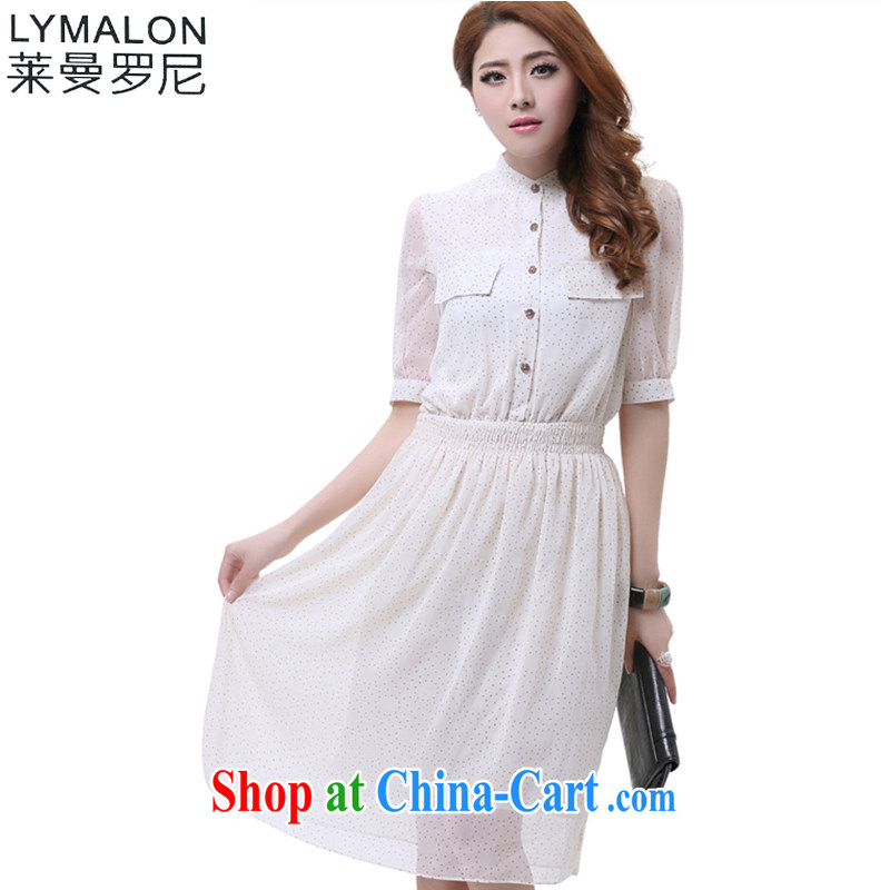 Lehman Ronnie lymalon fat people graphics thin 2015 spring and fall new cuff in larger female Bohemia snow woven dresses 2605 white 5 XL
