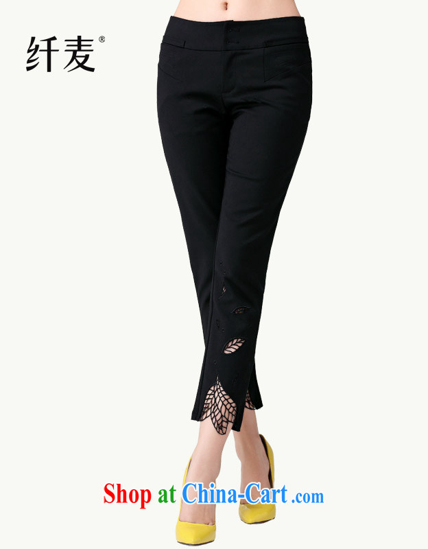 Slim, Mr Ronald ARCULLI load new embroidered 7 points and 9 sub-Trouser press the code ladies casual pants Ku 14,152 black 6 XL