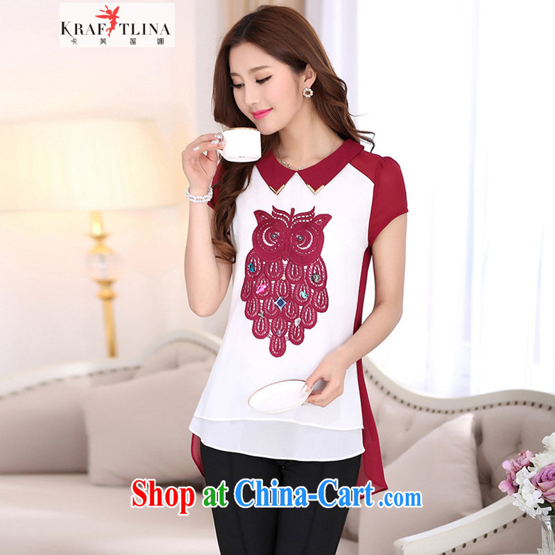 card can be Lin, the Code's 2014 spring and summer new lapel owl wood drill, long, snow-woven shirts 7019 red 4 XL