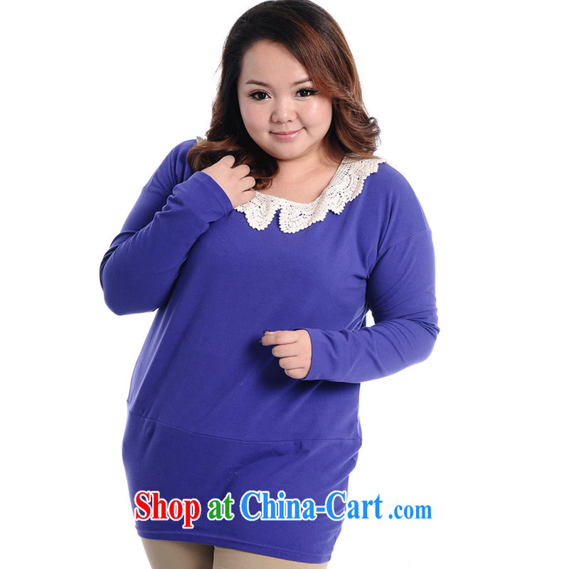 Thin _NOS_ thick mm XL female loose video thin stylish 100 ground lace collar long-sleeved shirt T dresses A 6281 large blue code 2XL_model through