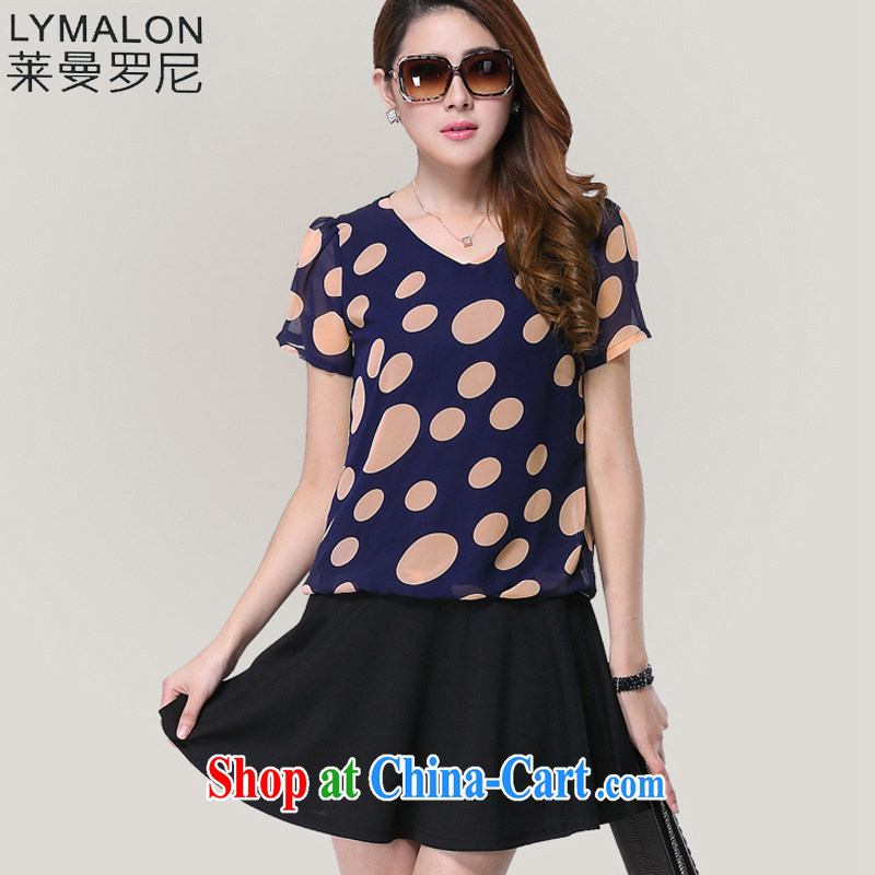 Lehman Ronnie lymalon fat people graphics thin spring 2015 new Korean king, female fashion round collar short-sleeved snow woven dresses 3107 photo color 5 XL