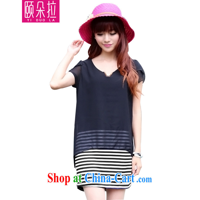 We Dora spring 2015 new female summer King, female thick mm sister summer graphics thin Yi, snow-woven skirt short-sleeved dress 9258 black XL