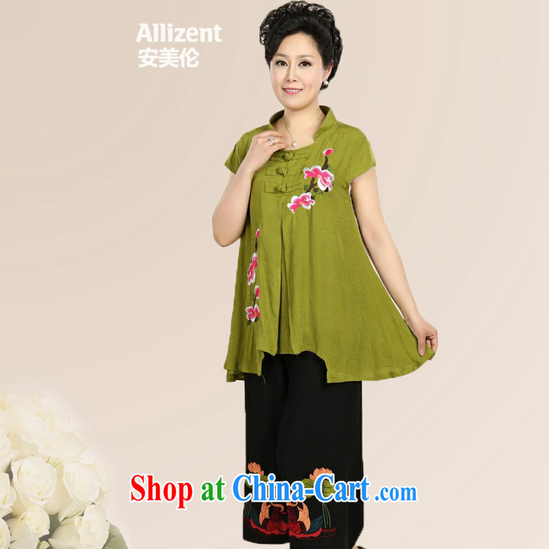 The United States, summer 2015 new upscale sand wash cotton older peony flowers Leisure package T-shirt + pants Green - Dark Green XXXXL, the United States, (Allizent), shopping on the Internet