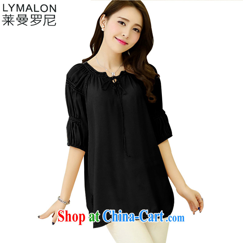Lehman Ronnie lymalon fat people graphics thin 2014 summer New, and ventricular hypertrophy, women who are decorated with round collar short-sleeved snow woven shirts T-shirt 1085 black 4XL