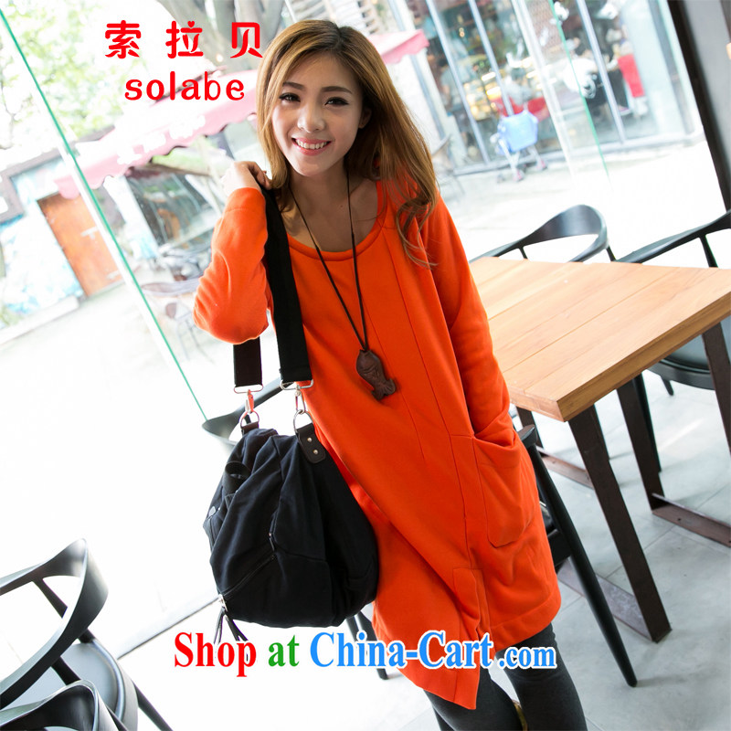 Solabe_in 2015 Addis Ababa larger female autumn is new and Korea and indeed loose the collar long-sleeved irregular dresses the lint-free cloth, orange 3 XL