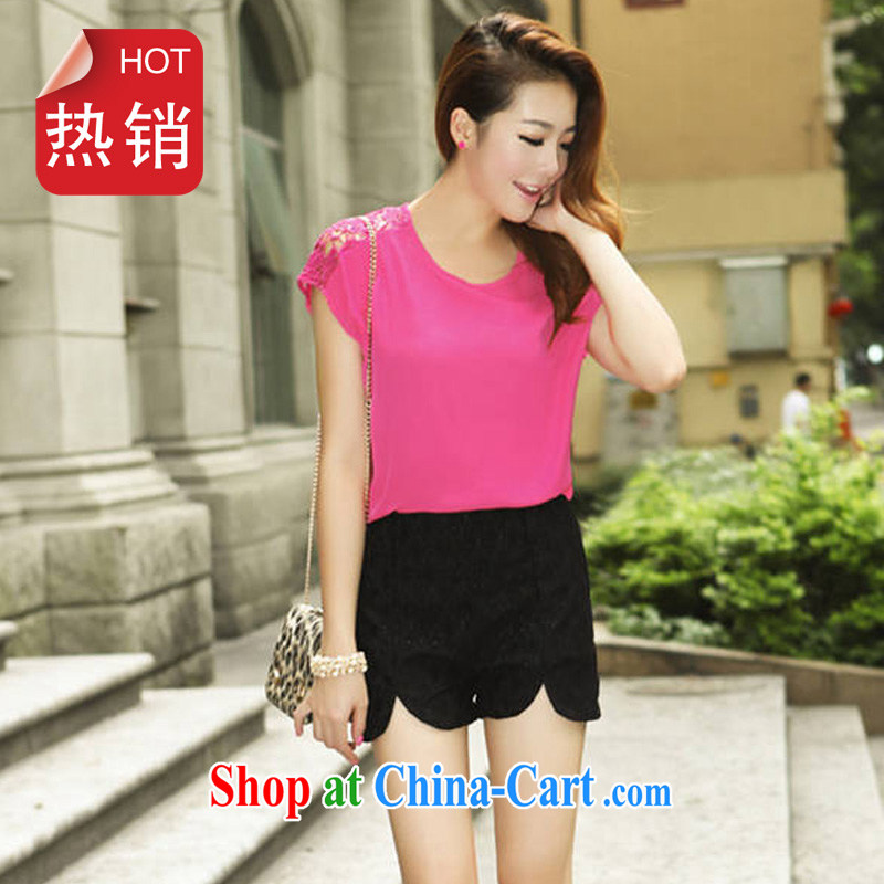 Electoral support the health care entity's 2014 summer new Korean version the code language empty hook take bat shirt short-sleeved snow woven shirts female A of 0111 red XL