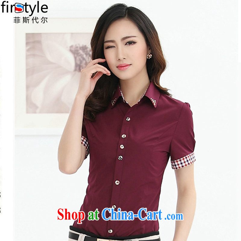 Donald Rumsfeld, the 2015 new Korean summer solid shirt short-sleeved knocked color leisure career cultivating shirt women 1020 short red 4 XL