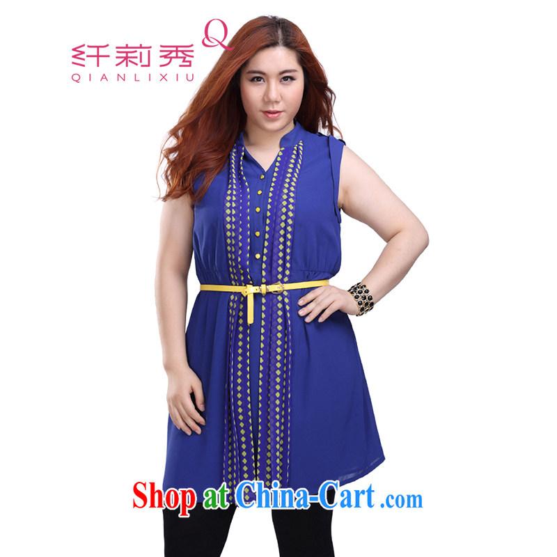 Slim Li-su summer 2014 new larger female, for snow-woven small floral elasticated waist sleeveless shirts, dresses Q 3917 _the belt_ Blue XL