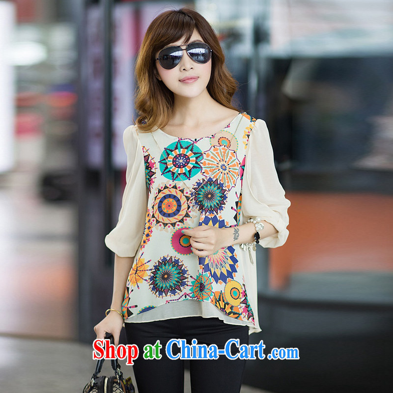 According to Chi-sun 2014 spring and summer with new Korean version loose video thin large, thick mm female stamp short sleeve female snow woven shirts T-shirt apricot 4 XL