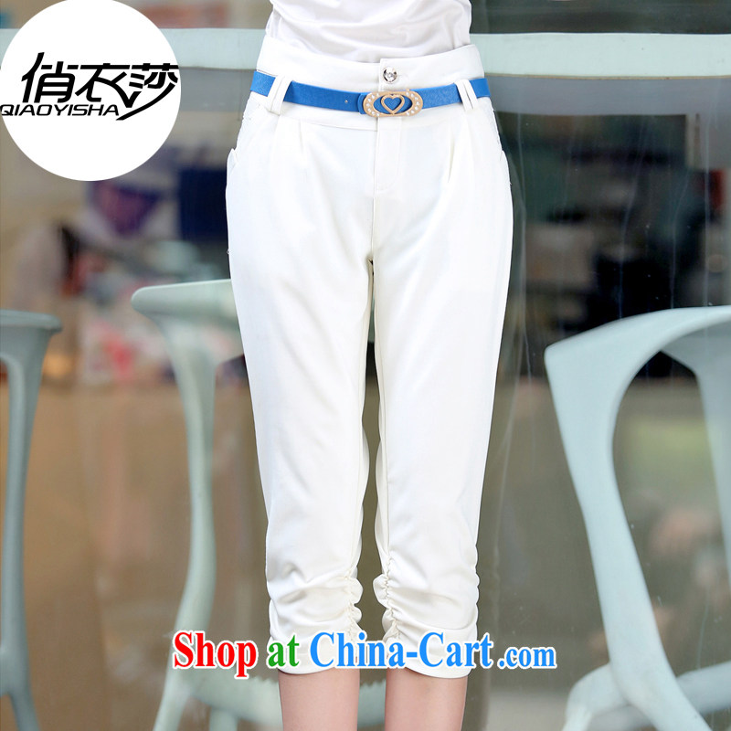 for Elizabeth's clothing summer 2015 new larger female leisure 100 ground graphics thin 7 pants QYBL 882 white 3XL