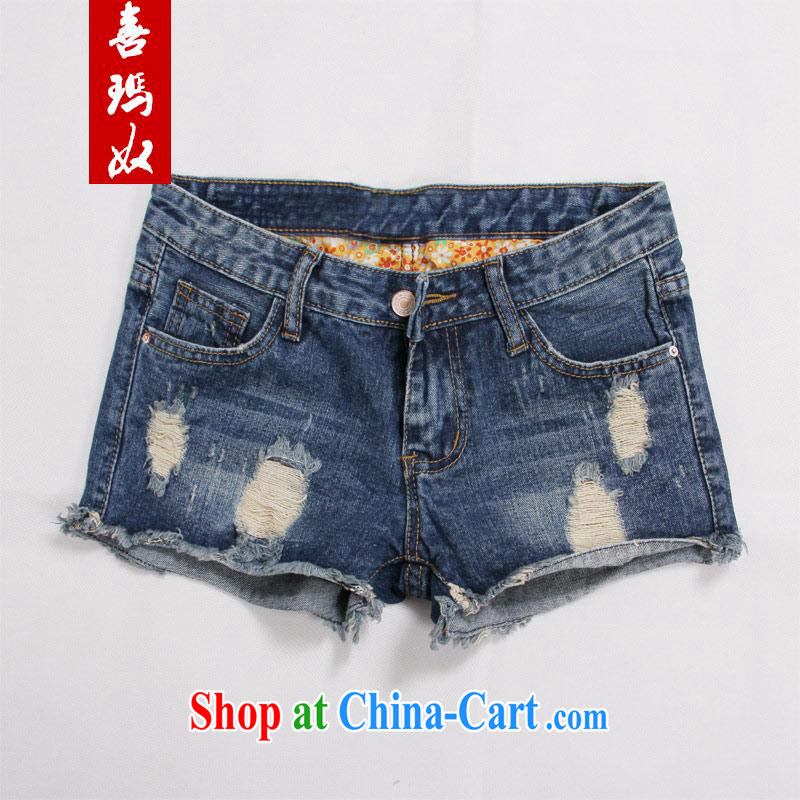 Hi Princess slave Korean XL girls stylish hole mill white beauty graphics thin jeans shorts hot pants M 10,819 blue - wear white 42 code_210 Jack left and right