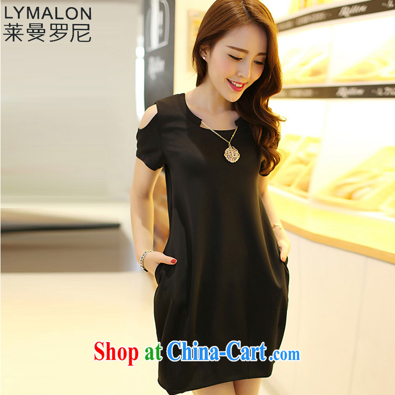 Lehman Ronnie lymalon fat people graphics thin 2014 summer new thick mm Korean version the ventricular hypertrophy, women are seen wearing short-sleeved dress 3831 black 4XL