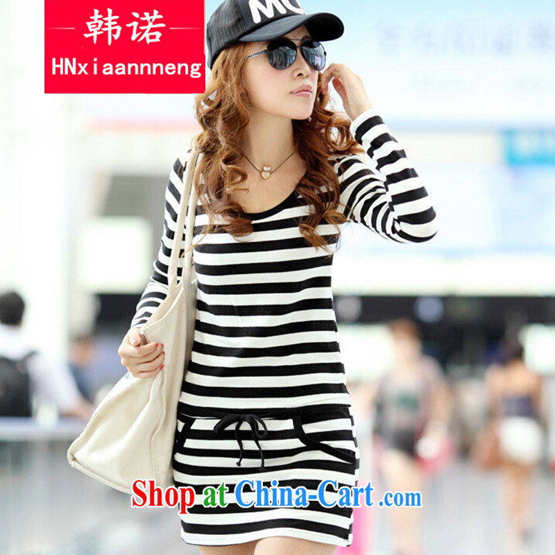 2014 spring new Korean female beauty graphics thin thick MM larger load horizontal streaks clean dresses black-and-white striped XXXXL