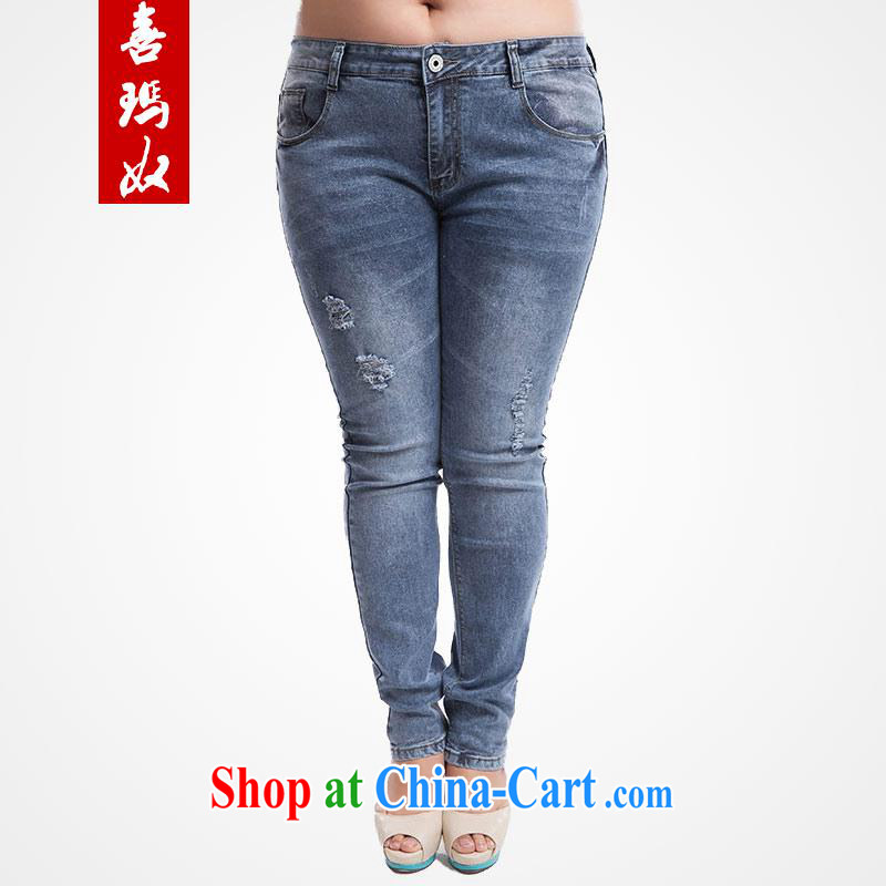 Hi Margaret slavery summer Korean version the Code women waist in jeans pants beauty video skinny legs pants pencil trousers M 52,119 light blue 34 code 160 Jack left and right