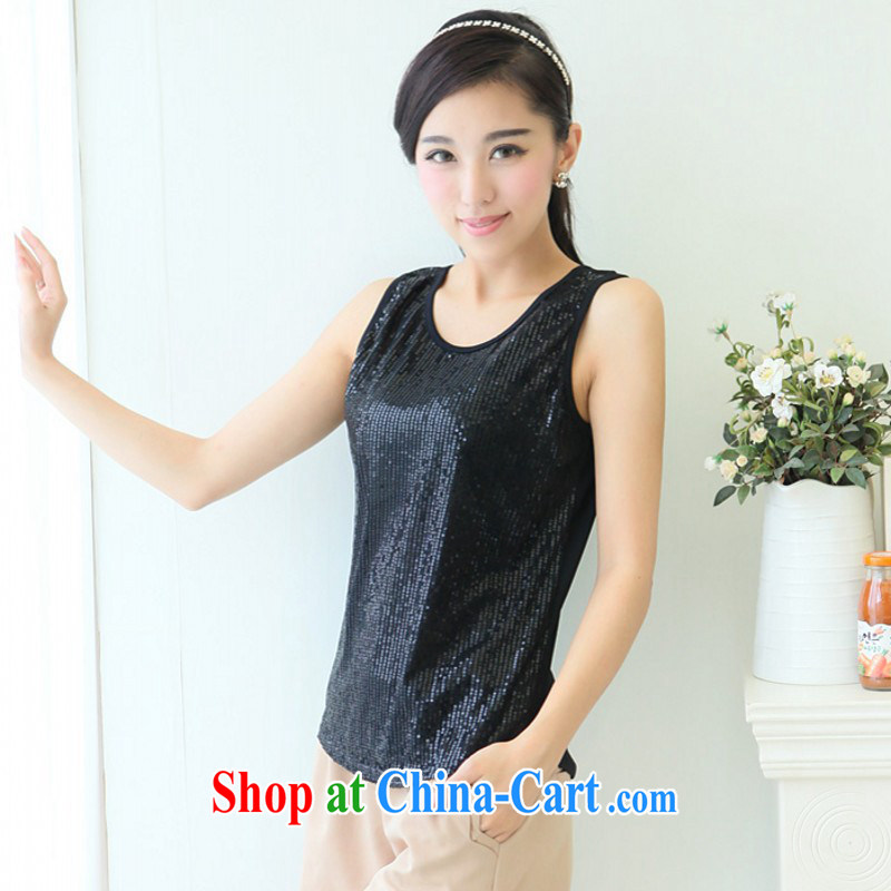 The delivery package as soon as possible by the fat increase, female 2015 summer 100 new ground, single, vest solid shirt T shirt strap with thick mm video thin shirt black 3 XL 165 - 175 jack