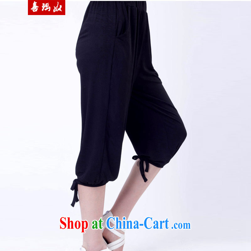 Summer NOS new Korean Beauty elastic large code trousers castor pants casual stylish pure cotton sports pants in the fertilizers increase A 8181 black this store clothing is king code is not normal size