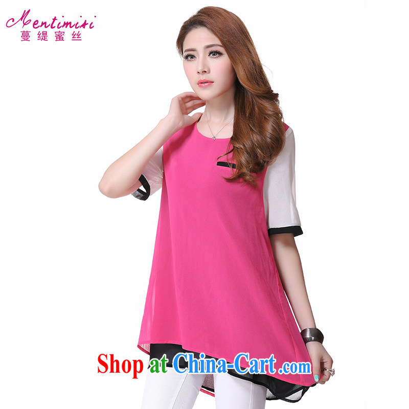 Mephidross economy honey, and indeed increase, female 2014 summer new thick mm video thin round-collar stitching knocked color short-sleeve snow T woven shirts of 1611 red code 5 XL