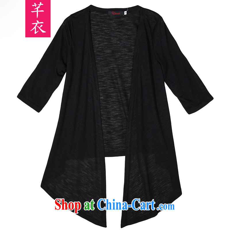 Constitution Yi XL women cardigan 2015 spring new sunscreen clothing and air-conditioning T-shirt Han version small jacket shawl, long-sleeved thick MM the code set the shirt black 3 XL