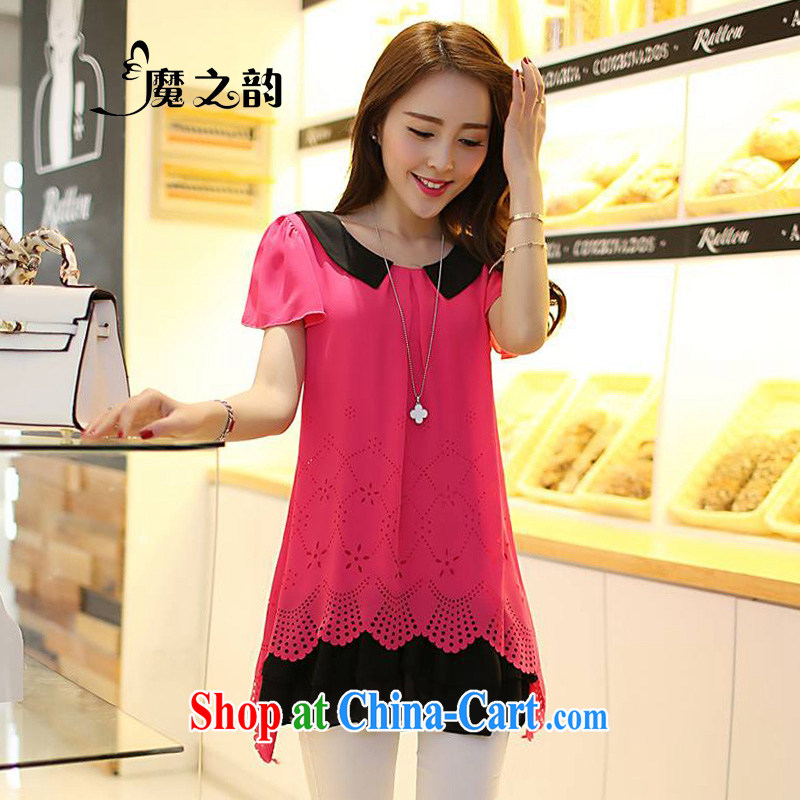 Magic of the new summer King, female and the fat loose temperament lady Openwork pattern, long, short-sleeved leave two-piece snow woven shirts 83,138 red XXXXL _155 - 180 _ jack