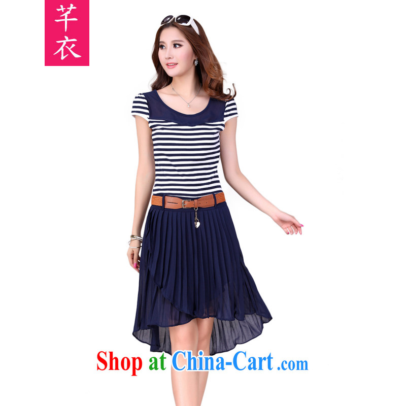 Constitution Yi XL women dresses 2015 new summer the obesity mm knitting stitching snow woven Navy stripes dress thick sister resort in blue skirt XL 2 120 - 140 jack