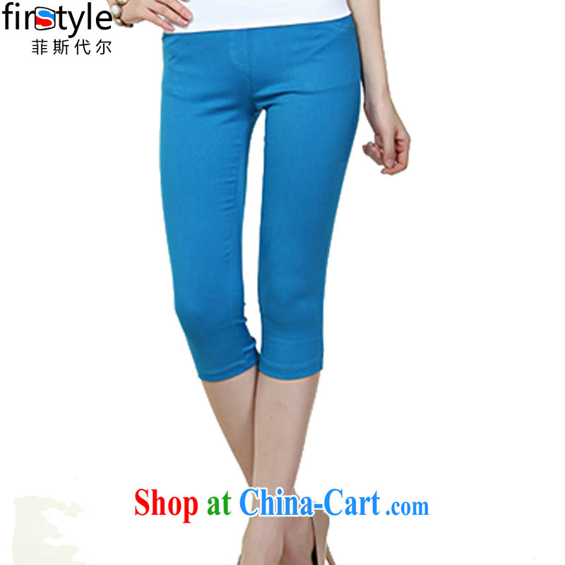 Donald Rumsfeld, the Summer 2015 new Korean female leisure video thin colored Elastic waist in basket 7 pencil trousers castor pants candy color 8117 blue 3 XL