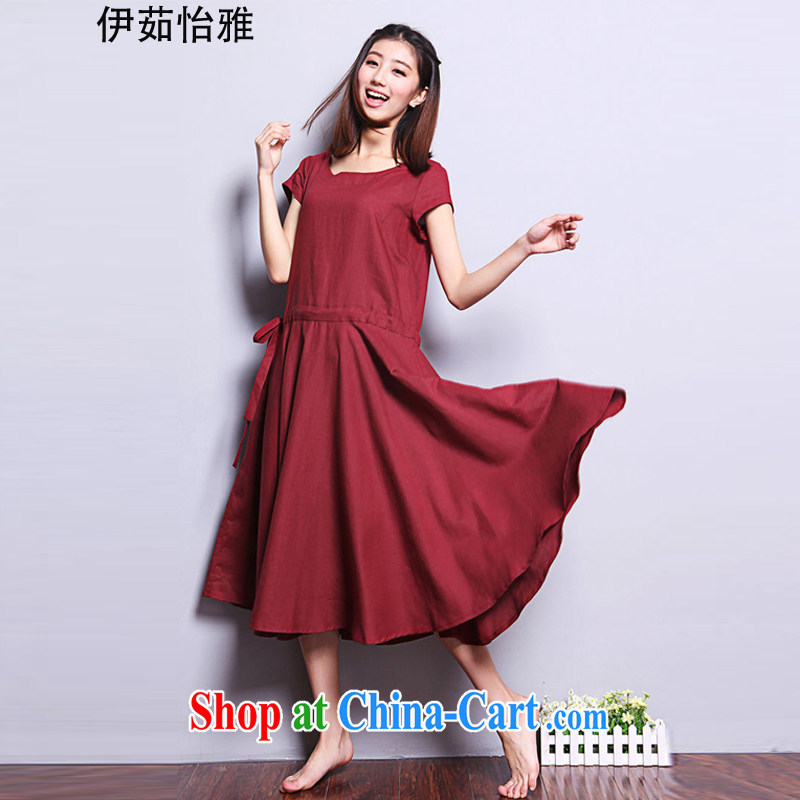 The Ju-Yee Nga summer girl, larger female fat sister, long cotton mA short-sleeved the FAT and FAT sister dresses YQ 9183 maroon XXL