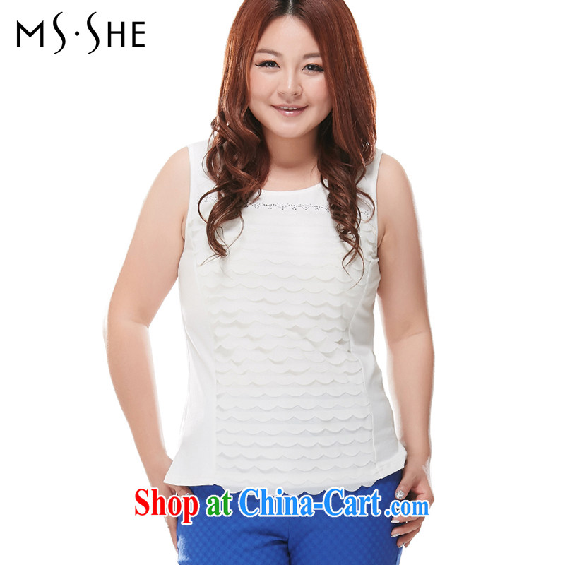 MsShe XL knitted vests 2015 new thick mm video thin beauty straps solid shirt 7036 white XL