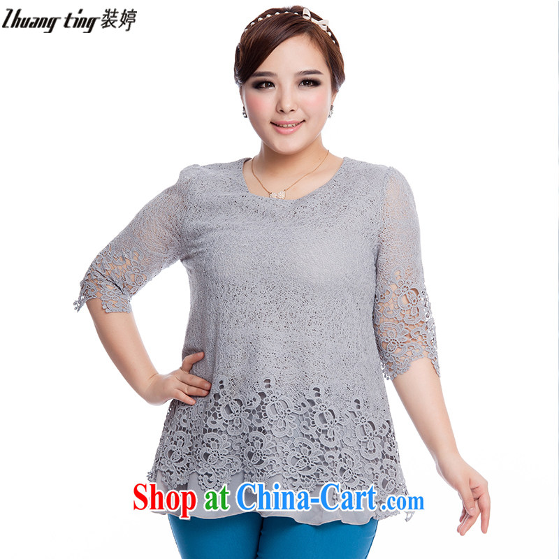The Ting zhuangting fat people graphics thin 2015 spring and summer, the United States and Europe, female fashion check flower cuff lace shirt T pension 1605 gray 5 XL